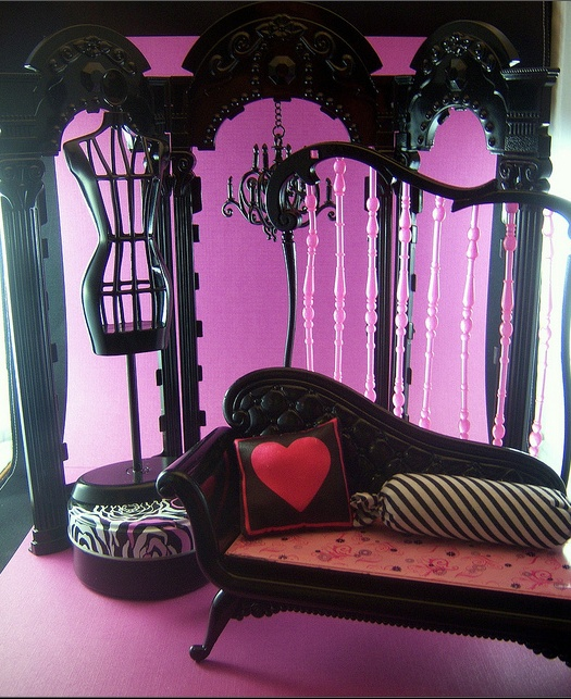 Barbie furniture. I've now bought two of these chaise one is in Draculaura room. The other. Don't know who'll get it yet. We shall see. After all is complete will open my board and show everything we've done. That may be a while. They keep bringing out dolls. Urg.