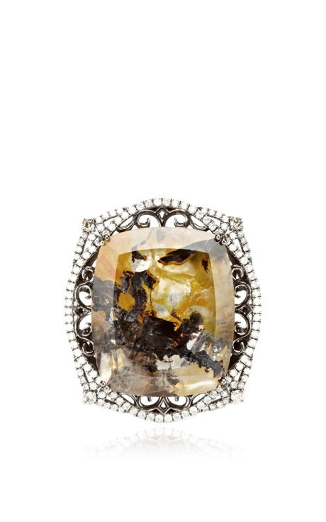 Marbled Moss Agate And Diamond Ring by Bochic for Preorder on Moda Operandi