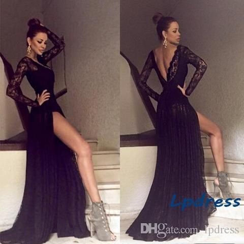 Sexy Lace Evening Dresses Chiffon With Lace Backless Long Prom Dresses Top Quality Custom Made Party Dress Evening Long Dresses Uk Evening Maxi Dresses Online From Lpdress, $94.18| Dhgate.Com