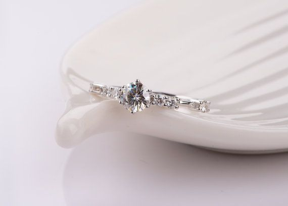 Minimal Moissanite Engagement Ring in 14k by KabellaCustomJewelry