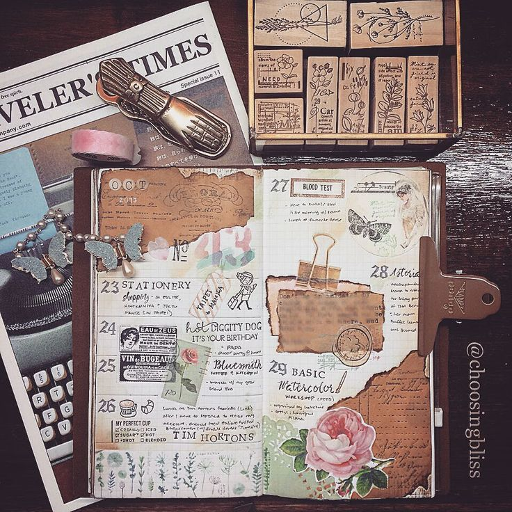 """Documenting little details of your everyday life becomes a celebration of who you are."" - Carolyn V. Hamilton. My week 43 #memorykeeping #travelersnotebook spread w/ the #vintage #floral theme"