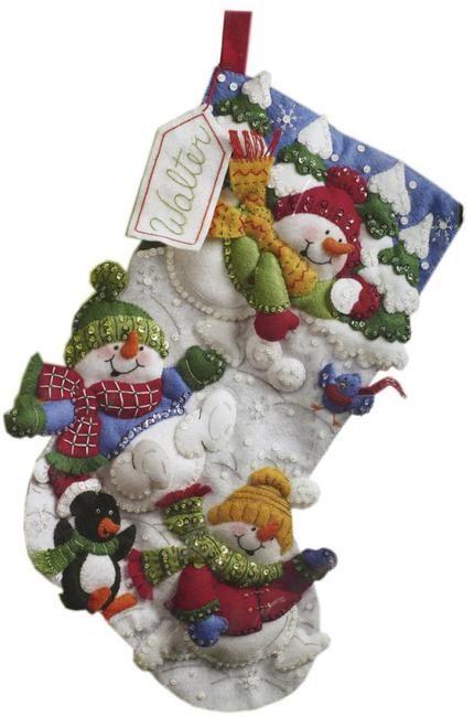 Snow Fun Christmas Stocking Felt Applique Kit bucilla