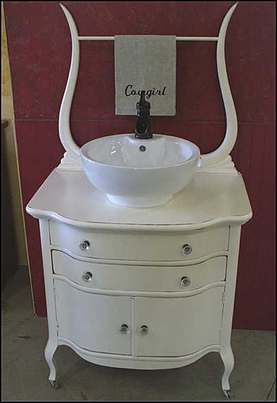 antique bathroom vanity in white with bowl sink and bronze pump faucet - Antique Bathroom Vanity