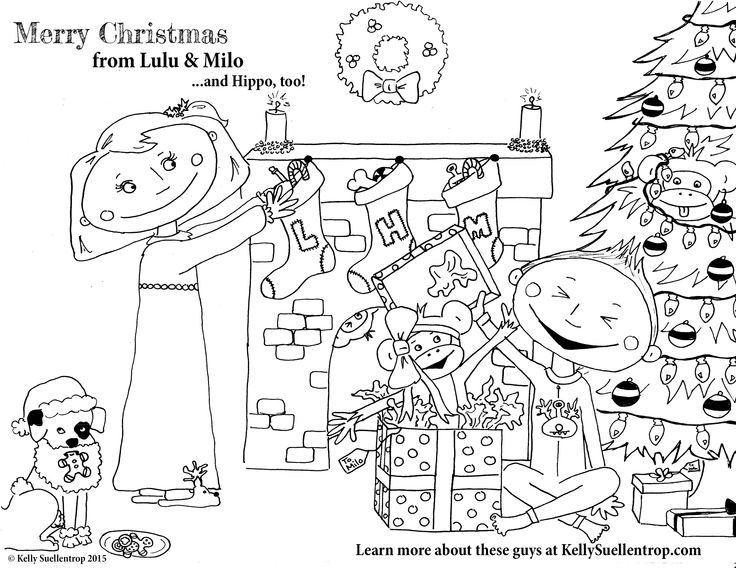 Free printable coloring page! Merry Christmas from Lulu & Milo, characters in the children's book, Absolute Mayhem, by Kelly Suellentrop. Find out more at KellySuellentrop.com