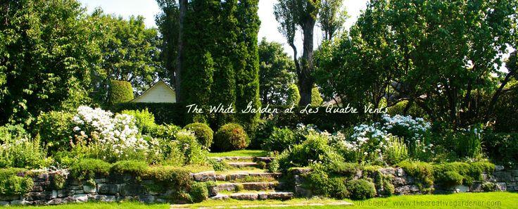 The white garden at Les Quatre Vents in La Malbaie, Quebec, Canada
