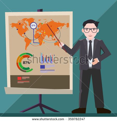 Businessman presentation, with Presentation screen and infographic.