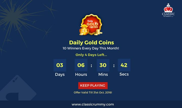 You could hear the gold coins clinking in your pocket this month with this special giveaway!. Only 3 days left for this offer. Play Now & Grab Your Share!  #rummy #online #mobile #ios #android #gold #diwali #gold