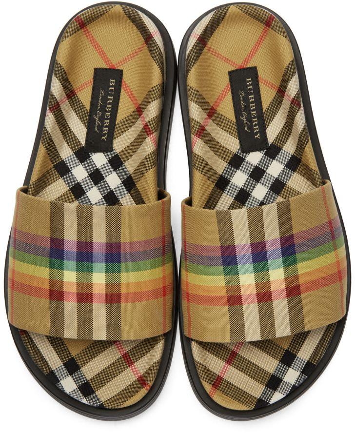 e087d9fd5 Burberry - Yellow Check Rainbow Slides   Street   Burberry, Rainbow ...