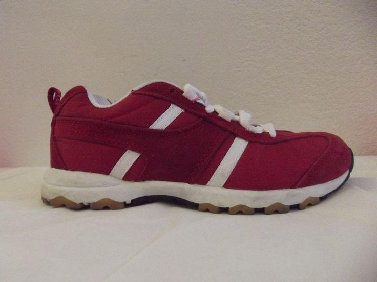 Cross Trekkers Womens Ladies 6.5 Red White Lace Up Tennis Athletic Sneaker Shoe #CrossTrekkers #WalkingRunning