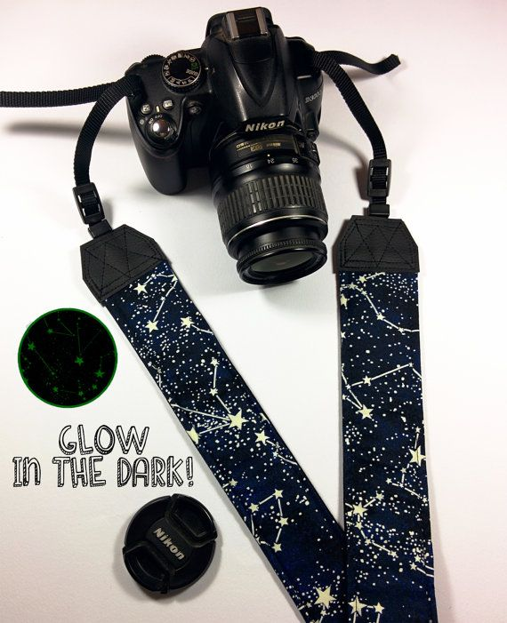 Constellation GLOW in the Dark Padded camera strap by agthandmade