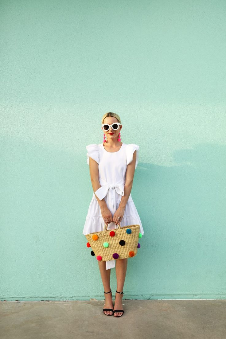Atlantic Pacific Blog // Blair Eadie pom pom tote, jill stuart ruffle dress, white celine sunglasses, beach day, travel style, siesta key, sarasota