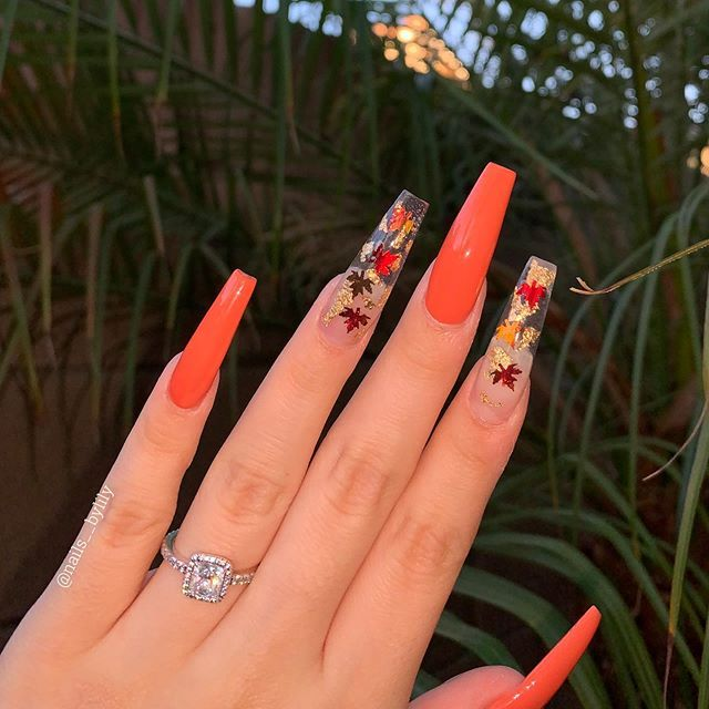 16 Cute Thanksgiving Nails Designs That Will Inspire You 2020 Inspired Beauty Thanksgiving Nail Designs Fall Acrylic Nails Coffin Shape Nails