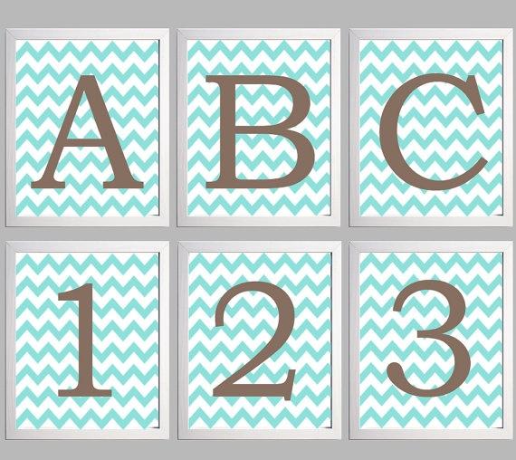 Set  6  Nursery Art Chevron Alphabet Letters by Zeppi Prints, $77.00: Alphabet Letters, Nursery Art, Art Chevron, Chevron Alphabet, Zeppi Prints
