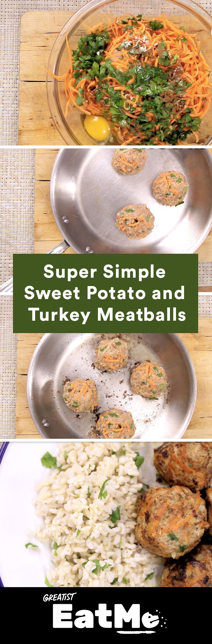 Because dinner shouldn't be tricky. #healthy #turkeymeatball #sweetpotato http://greatist.com/eat/turkey-meatballs-sweet-potato-recipe-video