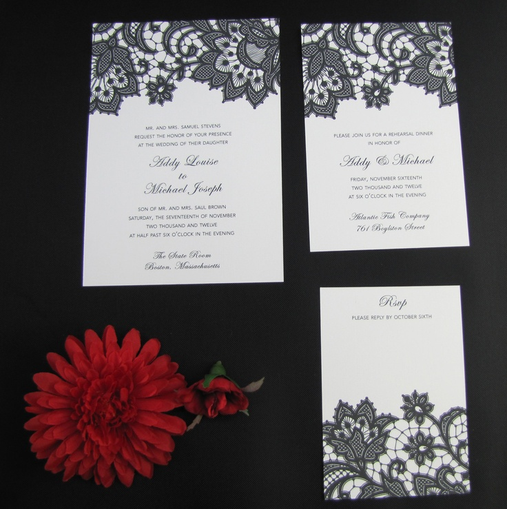 lotus flower wedding invitations%0A Vintage Lace Wedding Invitation         via Etsy