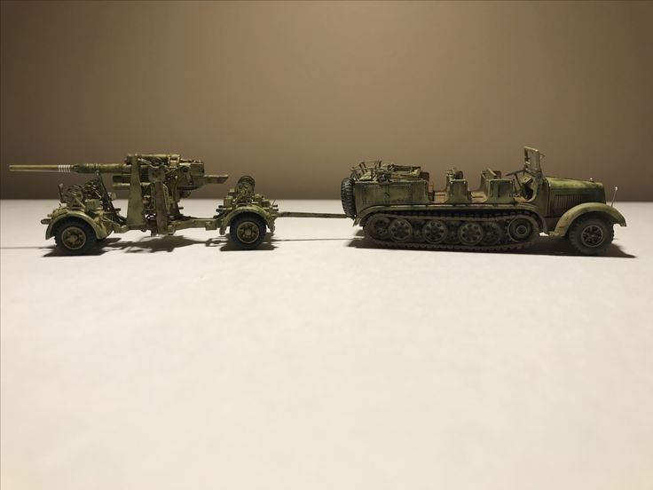 1/87 HO minitanks flak 36 and sdkfz 7 tractor for battle of Kursk diorama