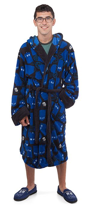 TARDIS and Gears Fleece Robe