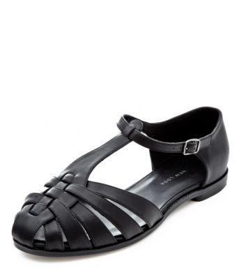 Wide Fit Black Caged Sandals