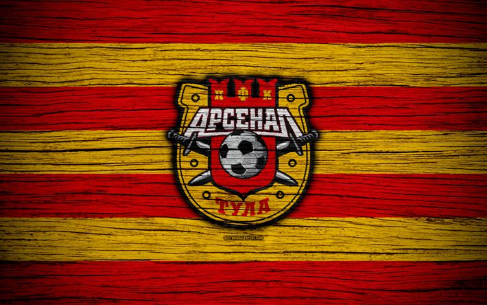 Download wallpapers FC Arsenal Tula, 4k, wooden texture, Russian Premier League, soccer, football club, Russia, Arsenal Tula, logo, art, football, Arsenal Tula FC