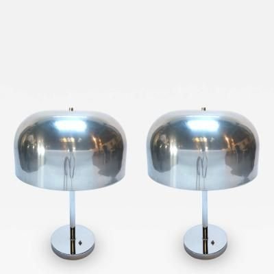 Pair of 1970s Lightolier Aluminum Table Lamps by   Lightolier