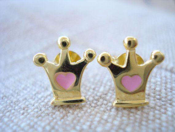 Gold crown studs Little girl's earrings Dainty gold by Poppyg