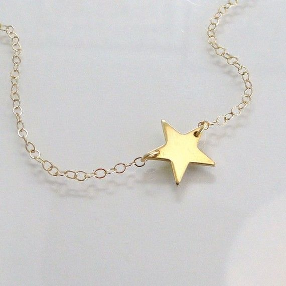 14K Gold Star Necklace, Seen On  Kelly Ripa, Emma Watson, and Lea Michele - 14K Solid Yellow Gold or White Gold on Etsy, $139.00