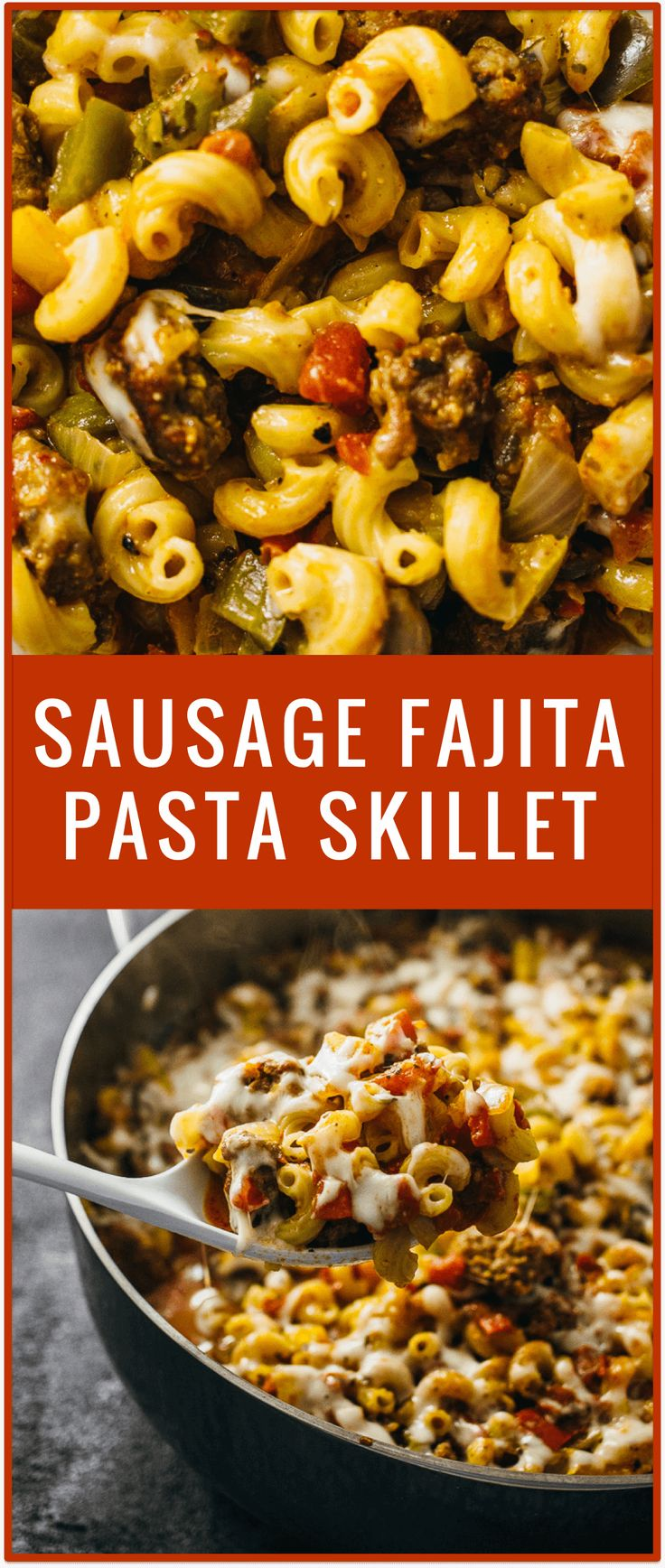 This tasty sausage fajita pasta skillet recipe includes spicy Italian pork sausage cooked with mozzarella cheese and my homemade Mexican fajita seasoning mix.
