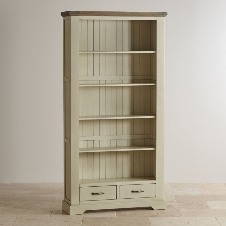 Isabella Brushed Acacia and Painted Tall Bookcase