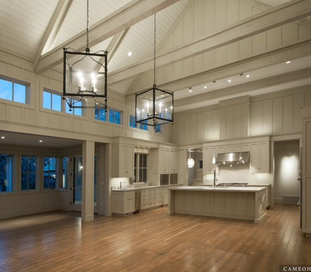Barn living: huge island, bump out dining room and vaulted great room.