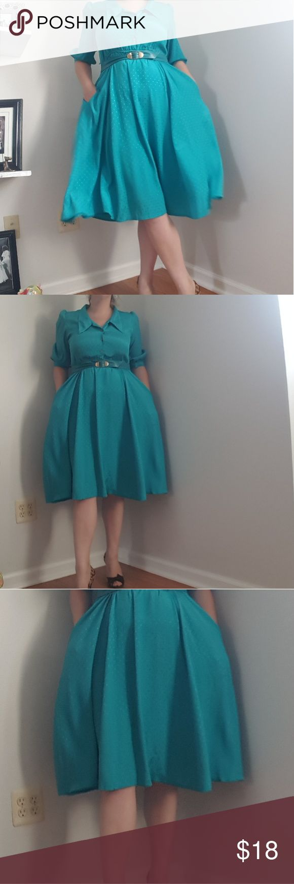 "Vintage Teal Shirt Dresd Vintage teal Dress by Halmode petites bust 21"" waist 16-20"" length 42"" belt not included I am a size 10/12 and it fits well Vintage Dresses"