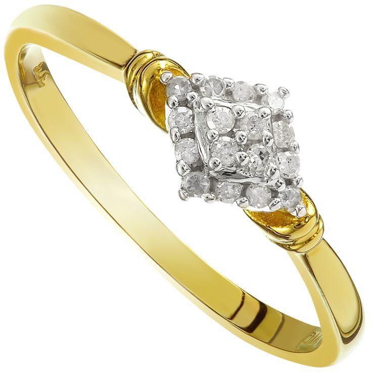 9ct Yellow Gold Diamond Shaped Diamond Cluster Ring - Purejewels.com.au $142