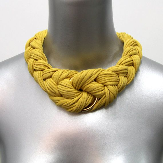SUMMER SALE Choker Braided Knotted Tribal Necklace Honey Gold Fabric Collar Jewelry Neckpiece Yellow African Braid Gold Ring Jewellery. $35.00, via Etsy.