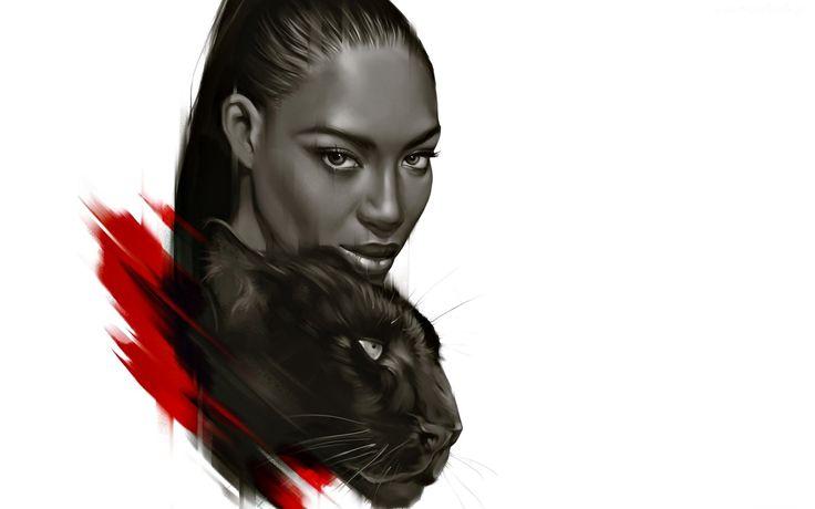 Ciemnoskóra, Kobieta, Puma, Rysunek, Naomi Campbell