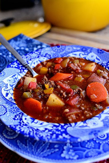 Hamburger Soup   The Pioneer Woma  can make this with radishes instead of potatoes to make it THM:S