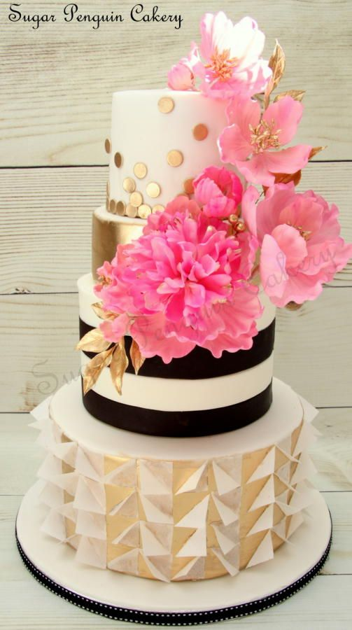 Kate Spade inspired Cake - Cake by Ivone - Sugar Penguin Cakery Love that bottom tier! Wafer-paper awesomeness!