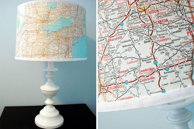 Map Lampshade. Wrap up the lampshade with your favorite atlas. It's fantastic to turn a bedside lamp into your personalized glowing globe to invoke adventurous dreams.