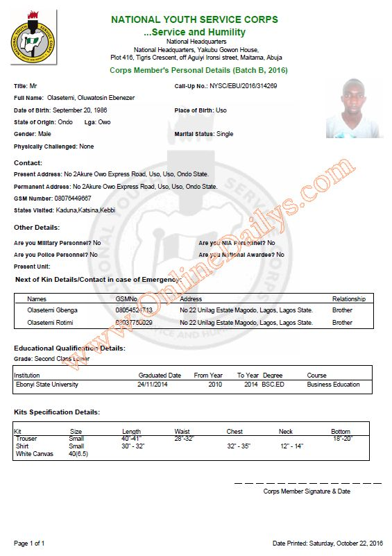 Sample Of Nysc Green Card Looks Like  Uses Of Nysc Green Card