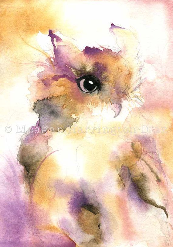 A whimsical woodland owl watercolor painting in hues of purple, yellow ochre, and sienna.    ~This 13 x 19 watercolor painting is printed