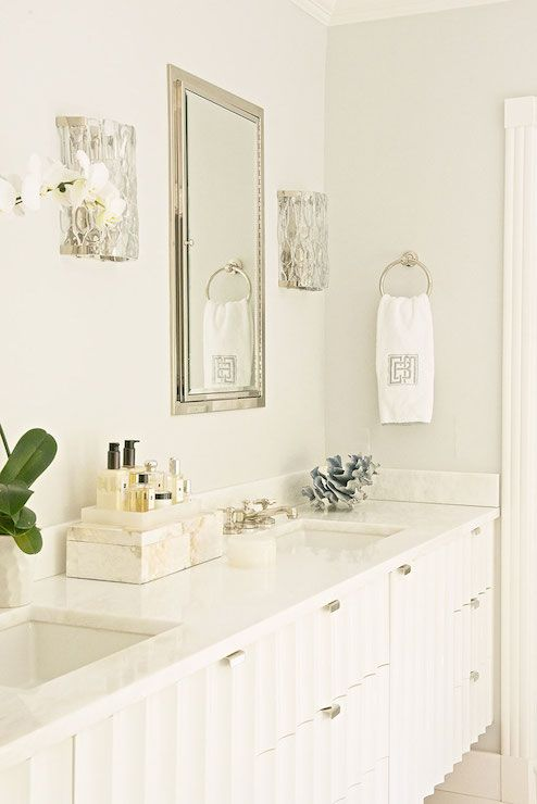 White Lacquer Double Vanity - Transitional - bathroom - Laura Tutun Interiors
