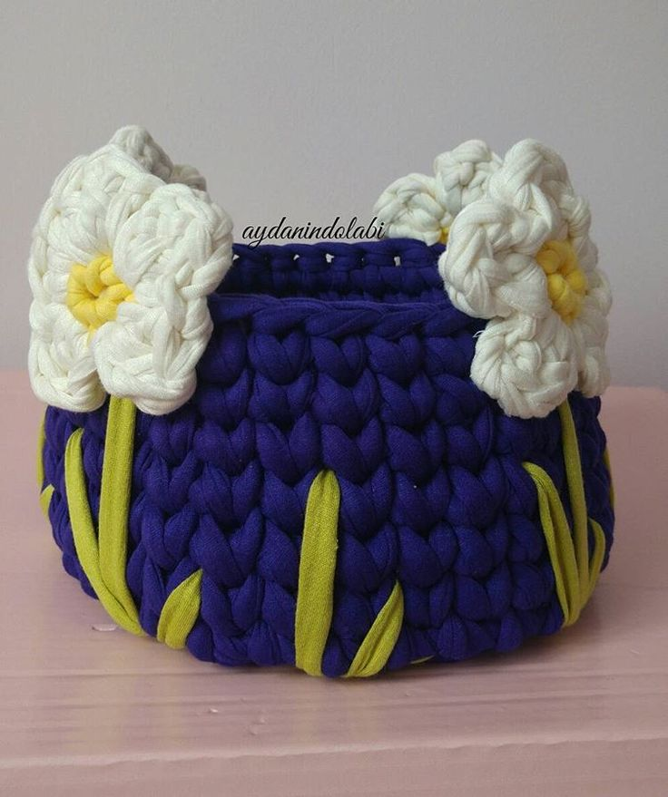 Crochet basket with flowers - idea