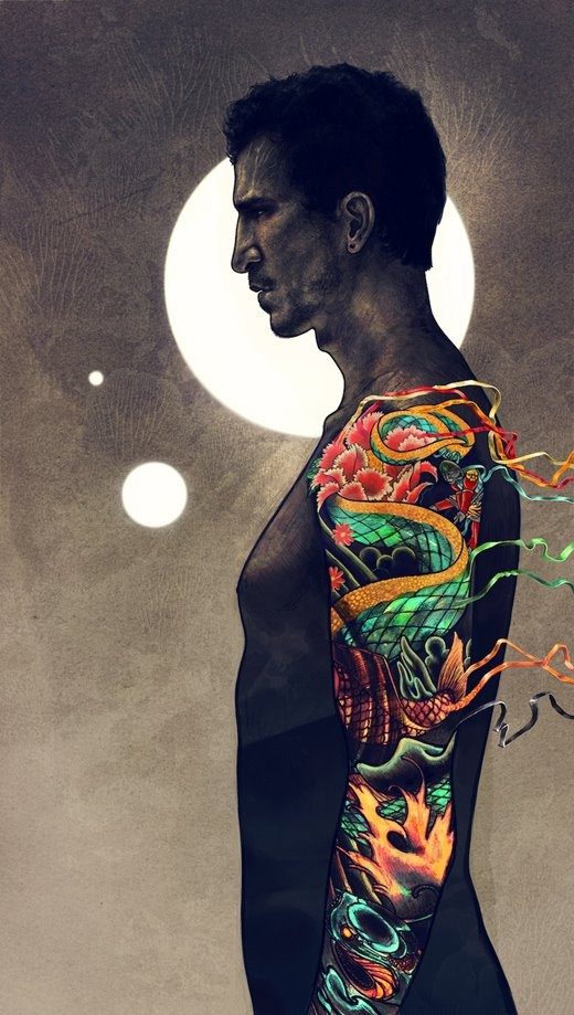 by Robbie Lawrence: Colors Palette, Boys Tattoo, Robbie Lawrence, Men Tattoo, A Tattoo, Ribbons Tattoo, Tattoo Man, Moon Lights, Tattoo Illustrations