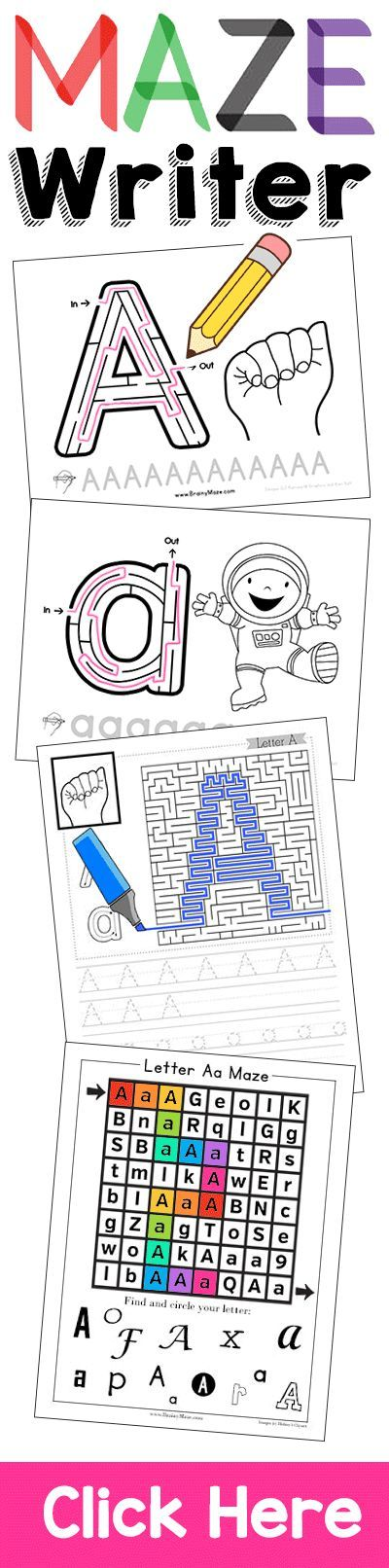 Maze Writer Handwriting Program for Kids.  Handwriting has never been this fun!  Each handwriting page includes a fun maze and activity for children solve. Children build fine motor skills necessary for handwriting all while having fun!  http://thecraftyclassroom.com/2016/11/29/maze-writer-handwriting-program/