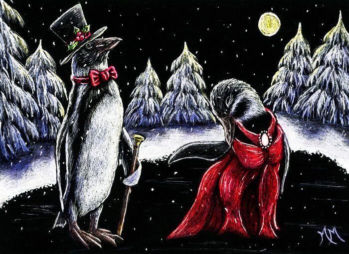 ACEO TW DEC Original Scratchboard Art PENGUIN DANCE Bird Wildlife Winter Snow MM #Miniature