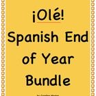 Five fun activities to keep your students engaged at the end of the year: Spanish Countries Trivia Game, Fiesta de San Fermín, Spanish Future Tense - Este Verano, Spanish End of Year Game - ¿Qué es? and El Alfabeto y el Armadillo. Save 20% when you buy the bundle. Spanish I and II, grades 6th - 10th. These products are also sold individually. Note this is a zip file. $