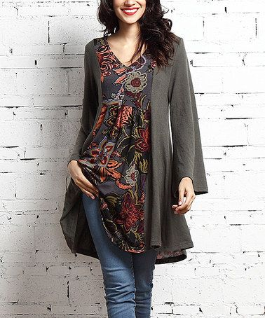 Look at this #zulilyfind! Olive & Charcoal Floral V-Neck Panel Tunic #zulilyfinds