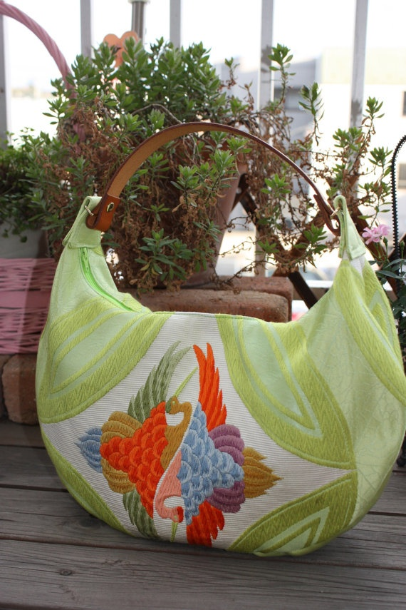 GR207 Lime Green Crescent Bag With Beautiful by RummyHandmade