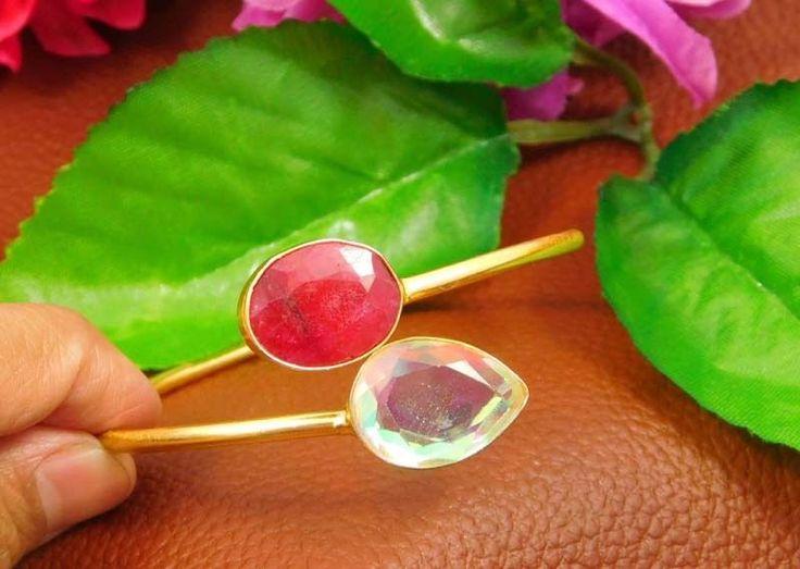 20 Carat Gold Plated Mystic Topaz Quartz Designer Bangle JT1038 #Handmade
