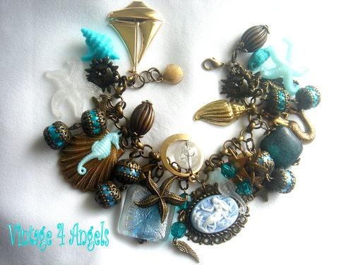 VINTAGE MERMAID CHARM BRACELET SEAHORSE STARFISH SAILBOAT GLASS PEARLS   eBay