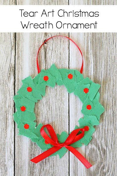 Homemade Christmas Ornament for Kids: Tear Art Christmas Wreath- perfect for toddlers, preschool, and kindergarten! ~ BuggyandBuddy.com