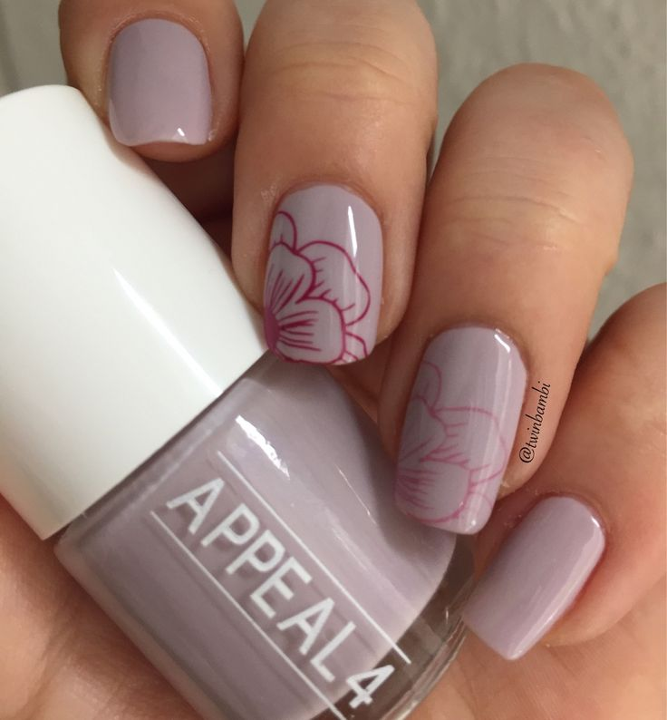 @appeal4 's Dusty Dawn stamped with Pinkish Galaxy and Pink Explosions. Stamping plate from Born Pretty no. 054